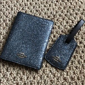 Coach passport holder and luggage tag